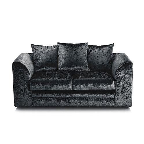 Michigan 2 Seater Black Crushed Velvet Sofa