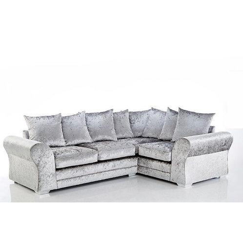 Jupiter Right Hand Silver Crushed Velvet Corner Sofa