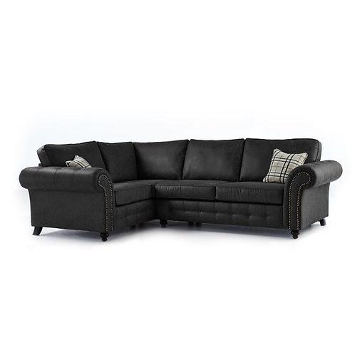 Oakland Black Faux Leather Left Hand Corner Sofa