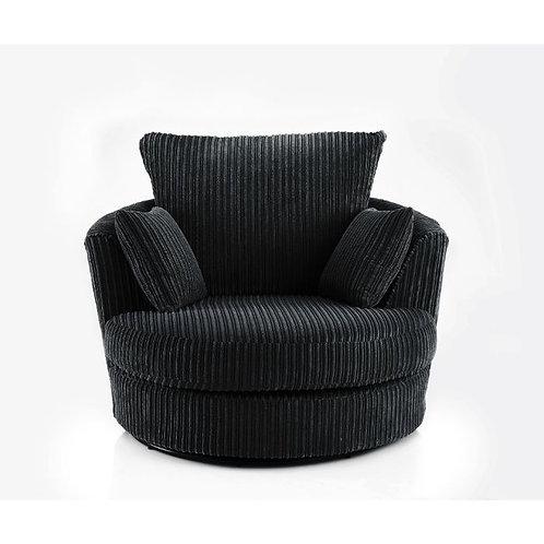 Chicago Black Jumbo Cord Swivel Chair