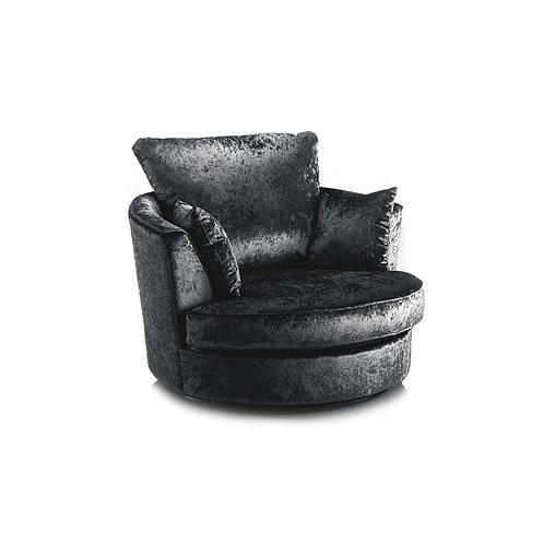 Michigan Black Crushed Velvet Swivel Chair