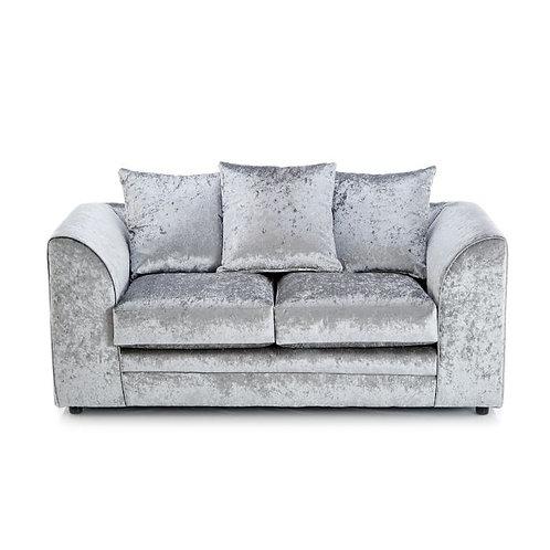 Michigan 2 Seater Silver Crushed Velvet Sofa