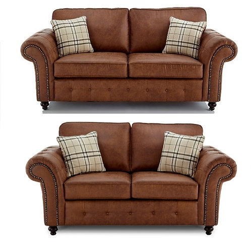 Oakland 3+2 Seater Brown Faux Leather Sofa