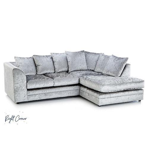 Michigan Silver Right Hand Crushed Velvet Corner Sofa