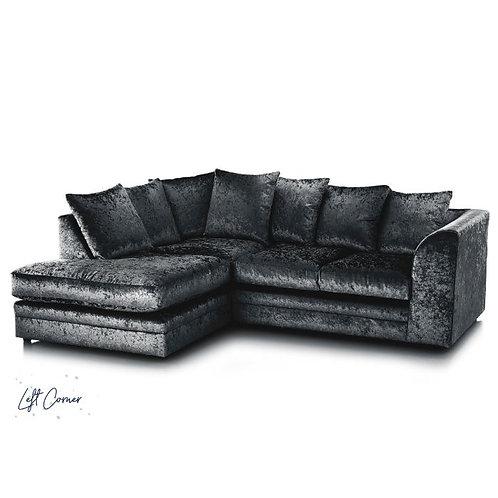 Michigan Black Crushed Velvet  Left Hand Corner Sofa