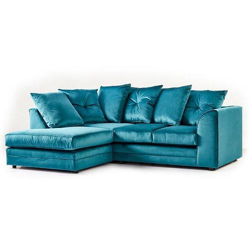 Rockford Plush Teal Velvet Left Hand Corner Sofa