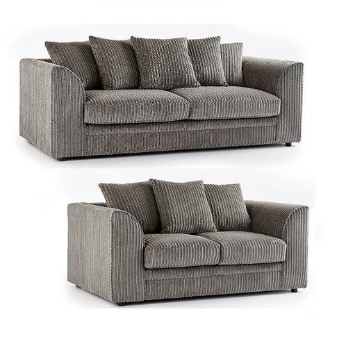 Chicago 3+2 Grey Jumbo Cord Sofa