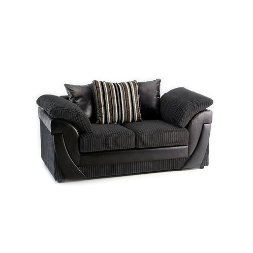 Lush 2 Seater Black Jumbo Cord  Sofa