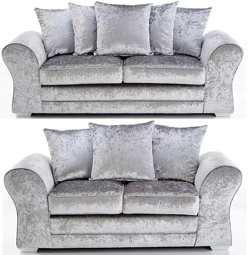 Jupiter 3+2 Sofa Silver Crushed Velvet