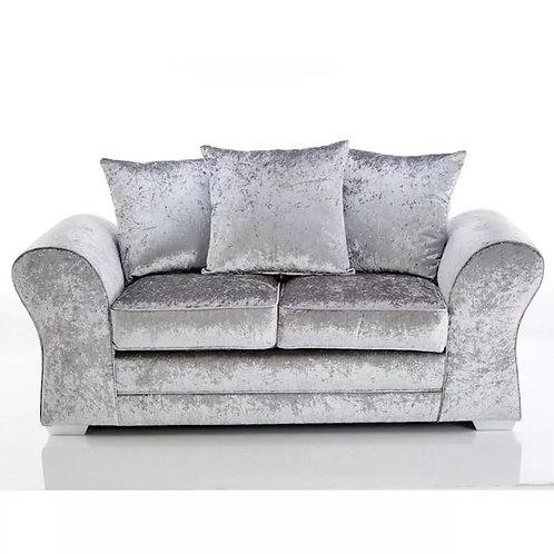 Jupiter 2 Seater Silver Crushed Velvet Sofa
