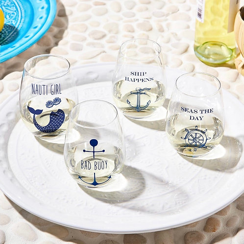 Ship Happens Seas the Day Stemless Set