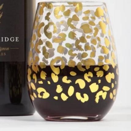 Leopard Print Wine Glass