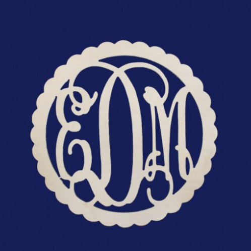 3 Initial Wooden Monogram
