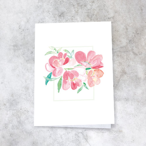 Kort med blomsterakvarell / nr.1