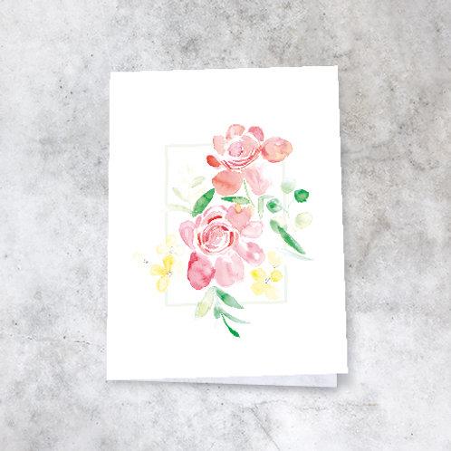 Kort med blomsterakvarell / nr.2