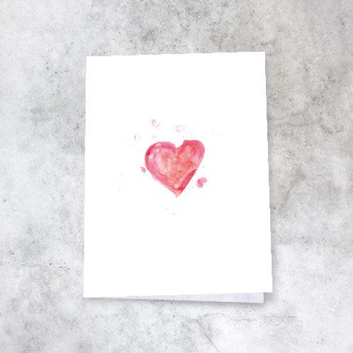 Kort med to håndmalte hjertemotiver