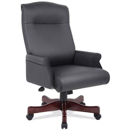 Executive Black Leather Roll Arm Desk Chair with English Cherry Base