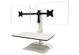 Emerge II can turn any static desk into a sit-stand desktop