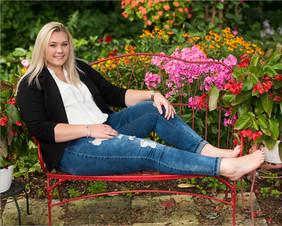 Red Bench in Garden