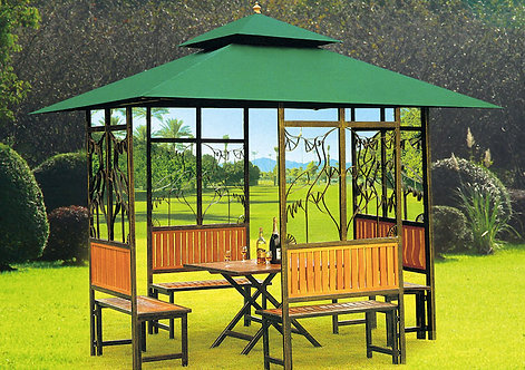 10 Feet by 10 Feet Steel with Wooden Design Gazebo