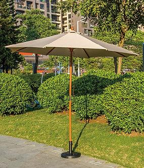 10 Feet Outdoor Umbrella Wooden Pole Polyester Top