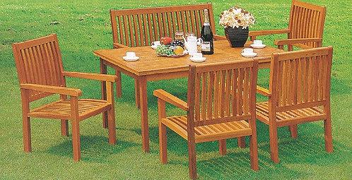 6-Piece Wooden Outdoor Dining Set