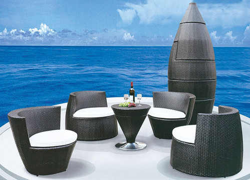 Loungeset 50 Euro.5 Piece Stackable Outdoor Lounge Set