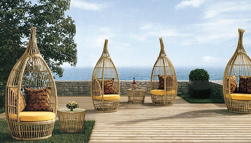 3-Piece Birds Nest Outdoor Chair and Table Set