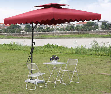 10 Feet Offset Pull Lever Outdoor Umbrella with Vent