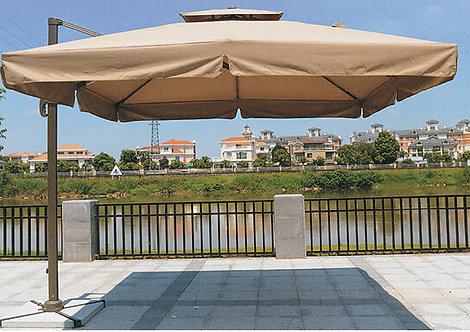 10 Feet Offset Easy Lift Outdoor Umbrella with Vent