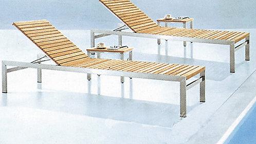 Basic Aluminum Folding Sunbathing Lounge Chair with Wooden Body