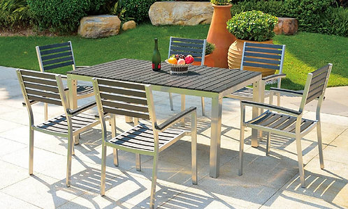 7-Piece Aluminum with Pine Wood Dining Set