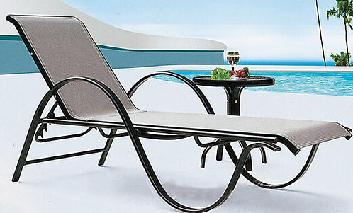 Basic Aluminum Folding Sunbathing Lounge Chair with Side Table