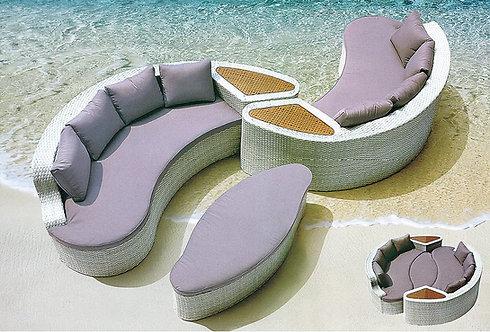 3-Piece Circular Outdoor Sofa Set