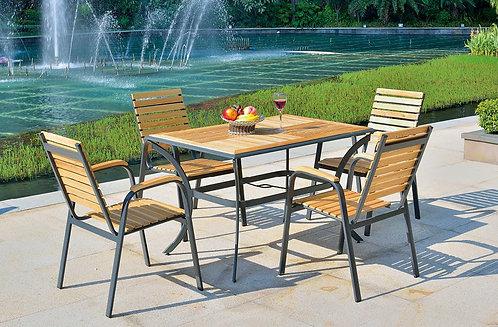 5-Piece Aluminum with Pine Wood Dining Set