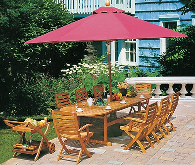 10-Piece Wooden Outdoor Dining Set