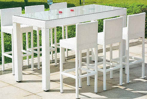 7-Piece High Stool and Bar Style Table Set