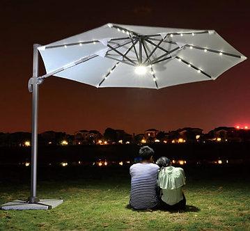 10 Feet Offset Solar LED Outdoor Umbrella