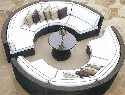 5-Piece Circular Outdoor Sofa Set