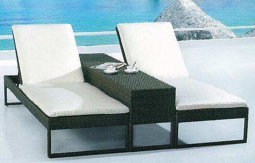 3-Piece Folding Sunbathing Lounge Chair