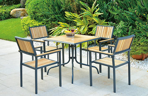 5-Piece Aluminum with Pine Wood Dining Set