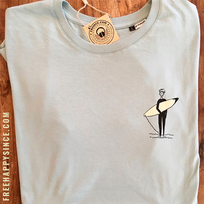 camiseta personajes surfer verde/crema fhsince