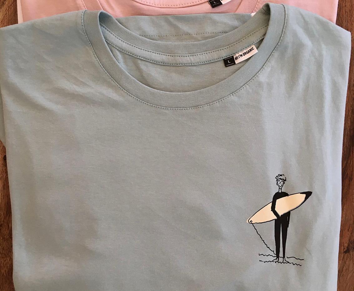 camiseta personajes surfer azul fhsince