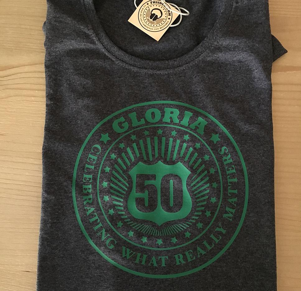 camisetas 50 años gris jaspeado oscuro/verde fhsince