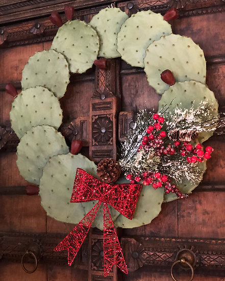 CHRISTMAS CACTUS WREATH (RED)