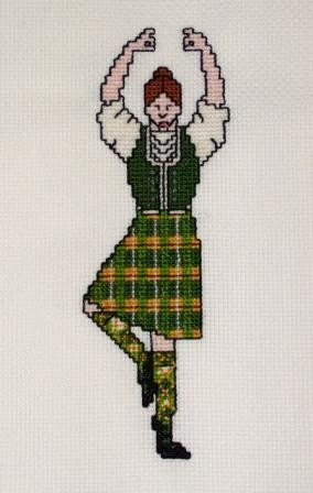 Highland Dancer in Green Tartan