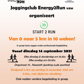 Organisatie start 2 run vanaf dinsdag 14 september
