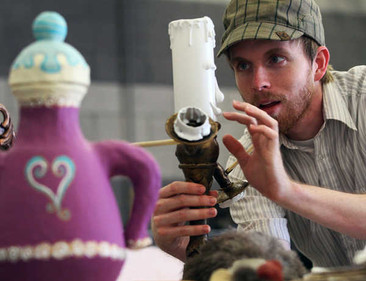 """Behind the scenes photo of """"Beauty and the Beast Jr."""" at StageWorks Fresno. 2011 (found object and paper mache)"""