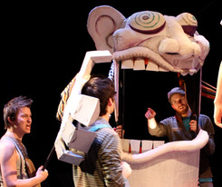 """Giant carnival puppet for """"The Fantasticks"""" at No Rules Theatre Company. 2012 (foam, carboard, cloth, and paper mache)"""