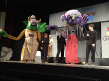 """Two giant spinsters for a production of """"Jack and Jill and the Beanstalk"""" at Chantilly High School. 2016 (L200 foam, pvc, foam rubber, cotton batting, fabric)"""